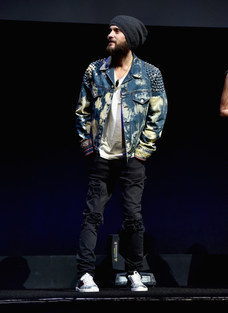 SPOTTED: Jared Leto In Gucci Washed Studded Denim Jacket And Gucci Sneakers