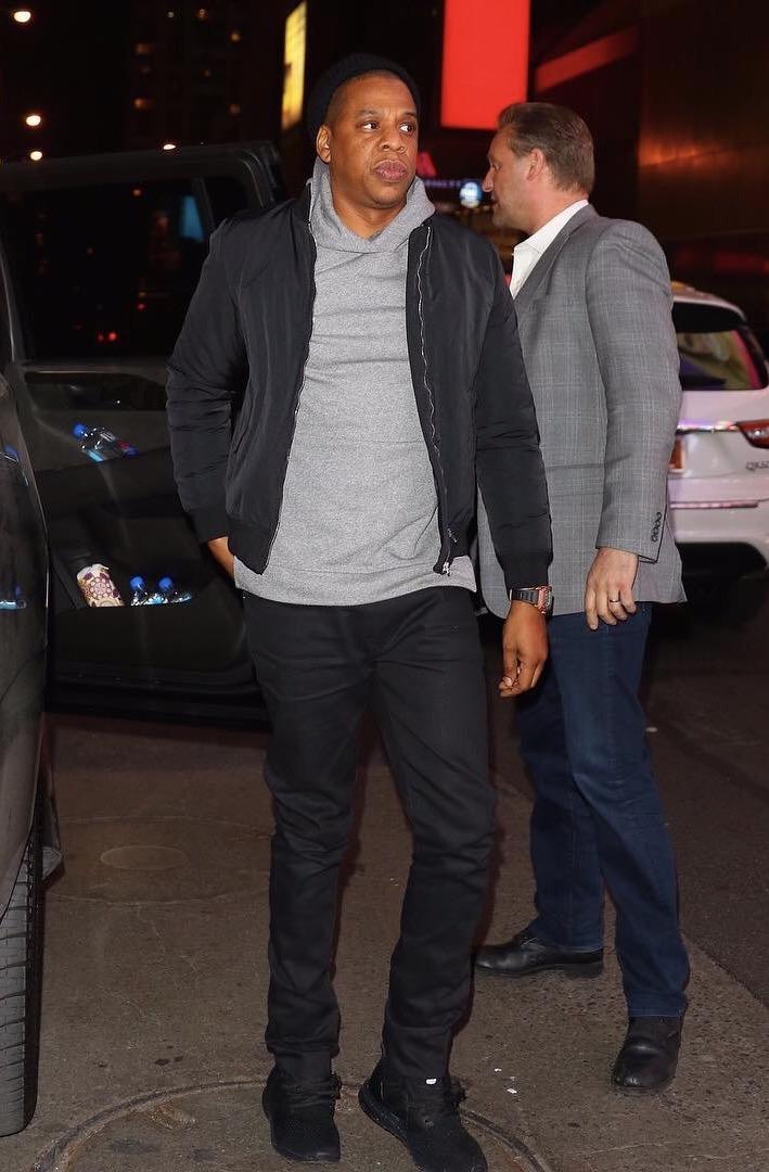 SPOTTED: Jay Z In John Elliott Hoodie And Adidas Sneakers