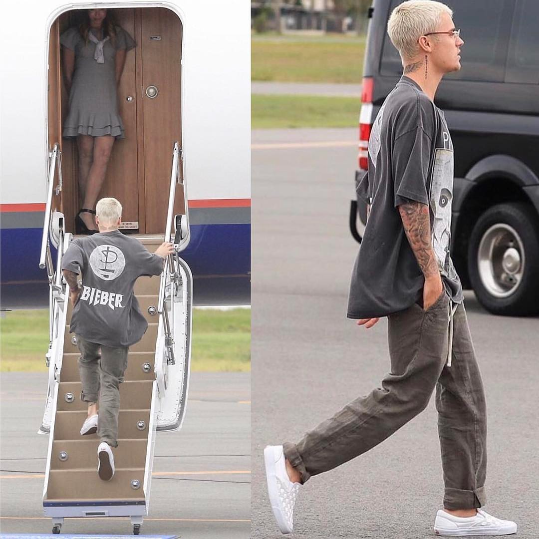 SPOTTED: Justin Bieber In Fear Of God Pink Floyd Tee And Vans Vault Sneakers
