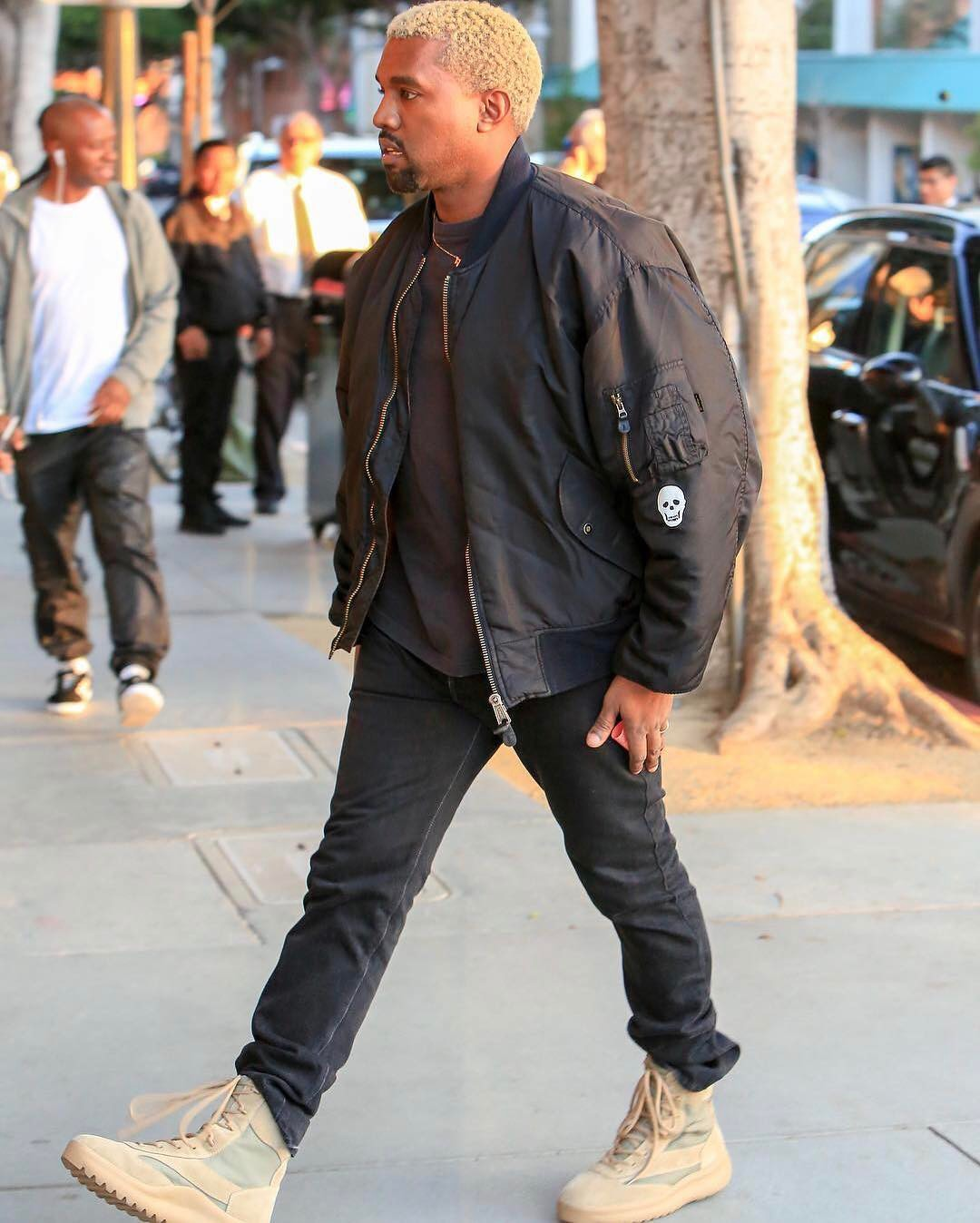 SPOTTED: Kanye West In Archive Raf Simons Bomber And Yeezy Season Military Boots