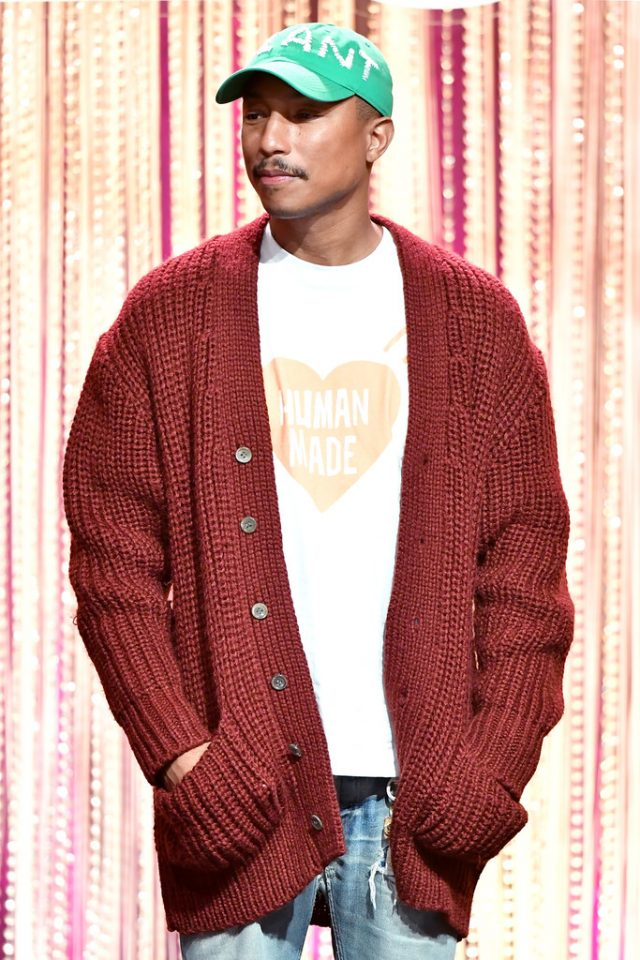 SPOTTED: Pharrell Williams in Comme Des Garcons Vintage Cardigan
