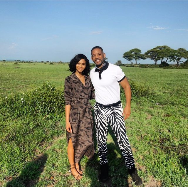 Will Smith posed with Chanel Iman Wearing Dolce & Gabbana Zebra Pants