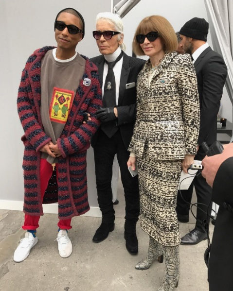 SPOTTED: Pharrell at Chanel Show at Paris Fashion Week