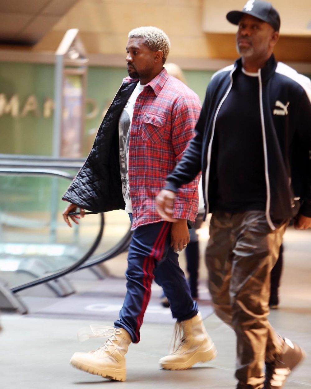 SPOTTED: Kanye West In Adidas Yeezy Season Calabasas Sweatpants and Boots