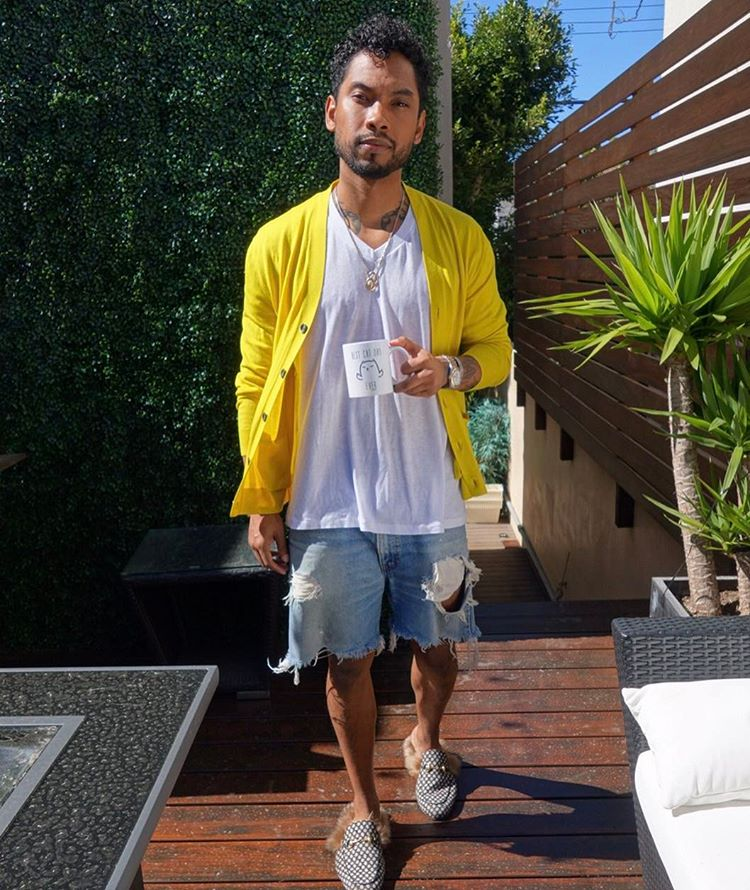 SPOTTED: Miguel in Gucci Cardigan and Fur Slippers