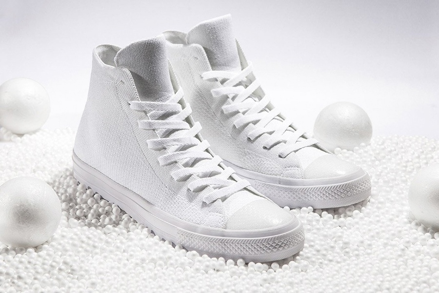 An All-White Converse Chuck Taylor All Star x Nike Flyknit is Revealed