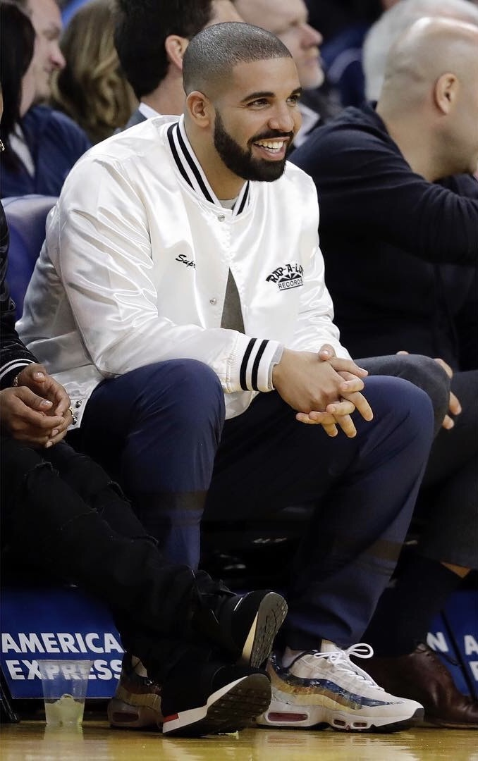 SPOTTED: Drake In Supreme x Rap-A-Lot Records Jacket And Nike x size? x Dave White Air Max 95 Sneakers