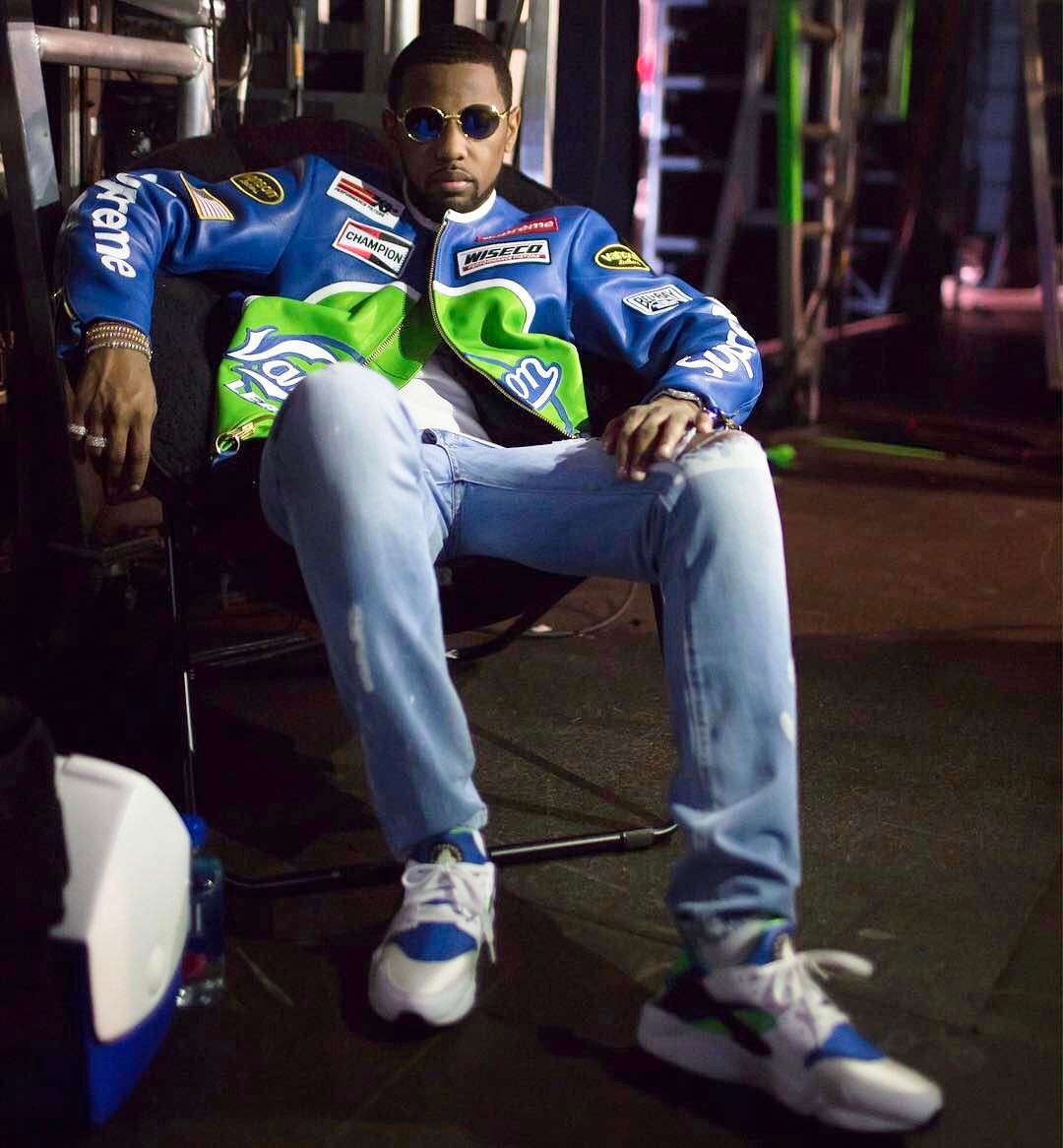 SPOTTED: Fabolous In Supreme x Vanson Leather Jacket And Nike Air Huarache Sneakers