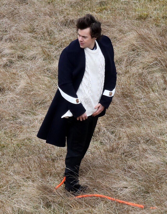 SPOTTED: Harry Styles Shooting Music Video In Gucci Coat And Burberry Sweater