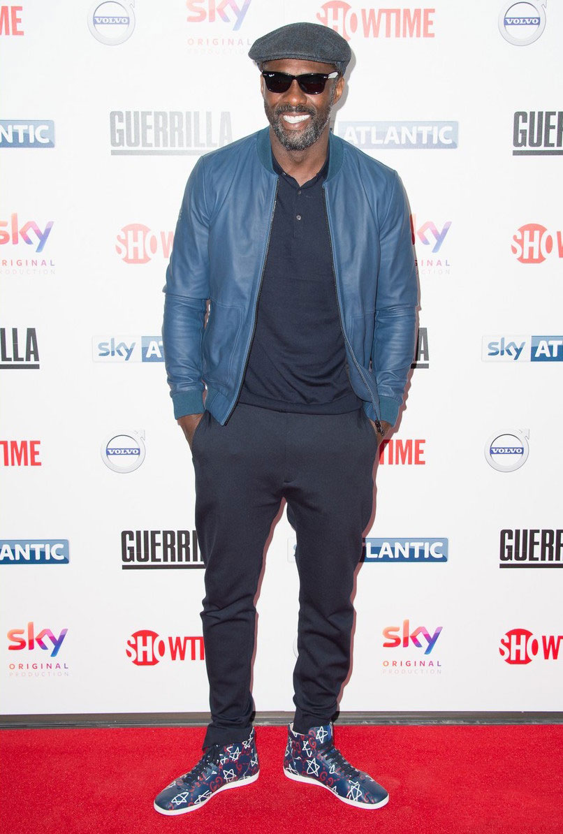SPOTTED: Idris Elba In Idris x Superdry Jacket And Gucci Sneakers