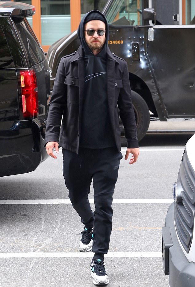 SPOTTED: Justin Timberlake in Nike Hoodie, Sweatpants and Atmos Elephant Sneakers