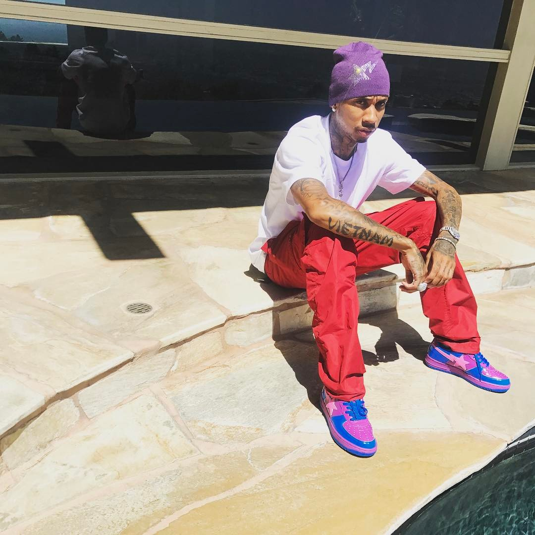 SPOTTED: Tyga In Purple BAPE Beanie And Sneakers