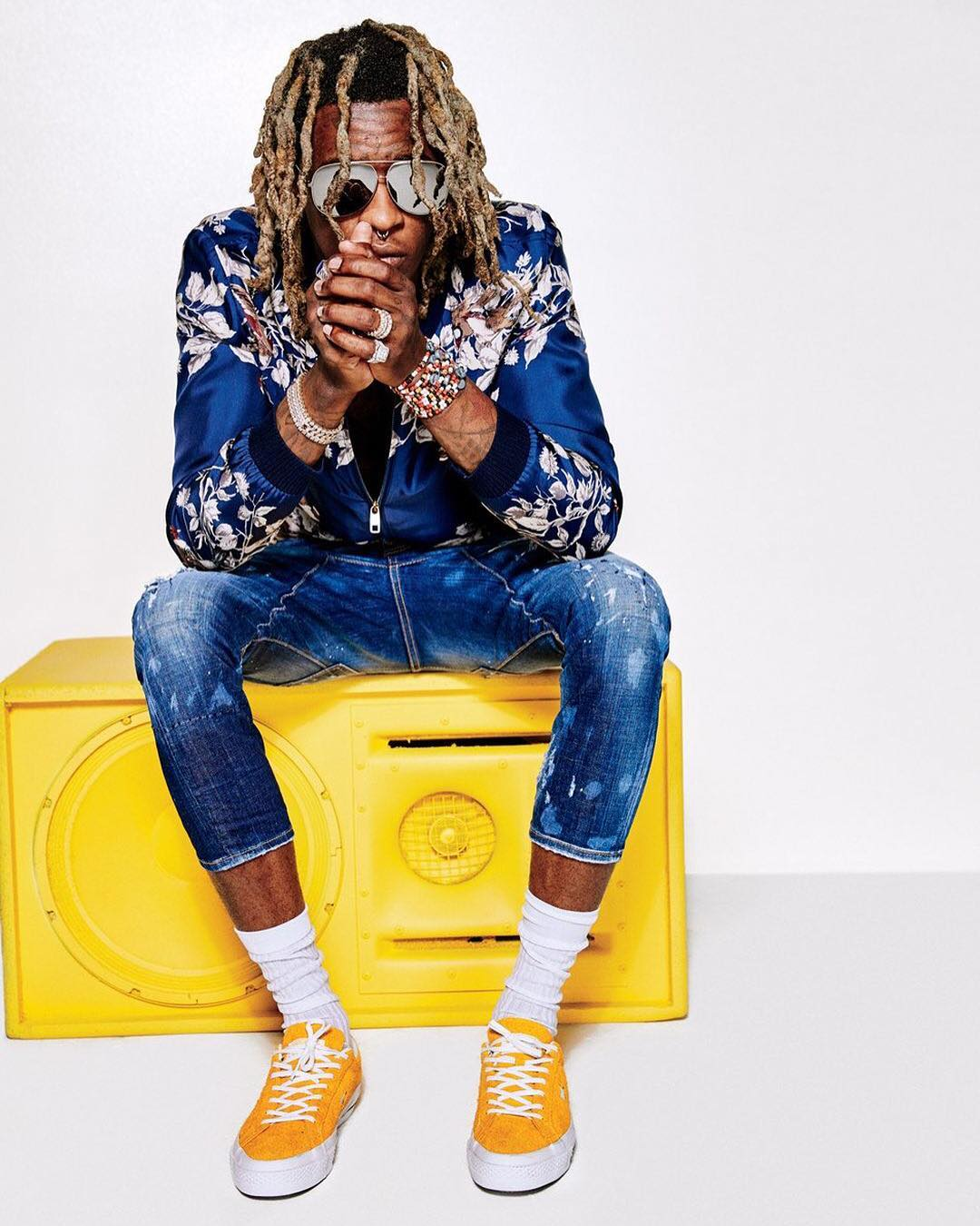 SPOTTED: Young Thug In Dolce & Gabbana Jacket And Converse Sneakers For GQ Magazine