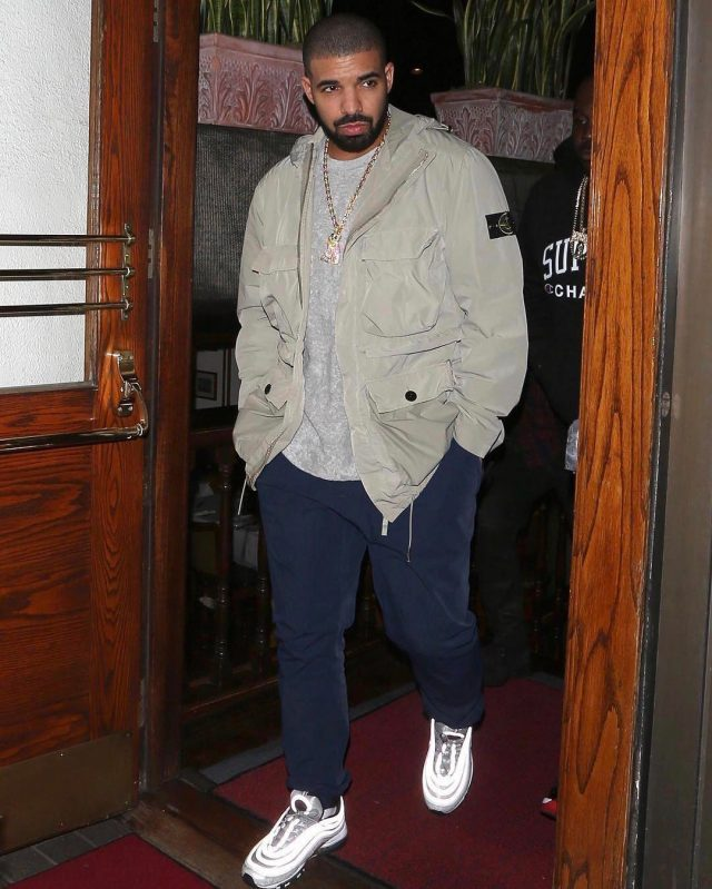 SPOTTED: Drake in Stone Island Jacket, Nike Air Max Sneakers and OVO Chain