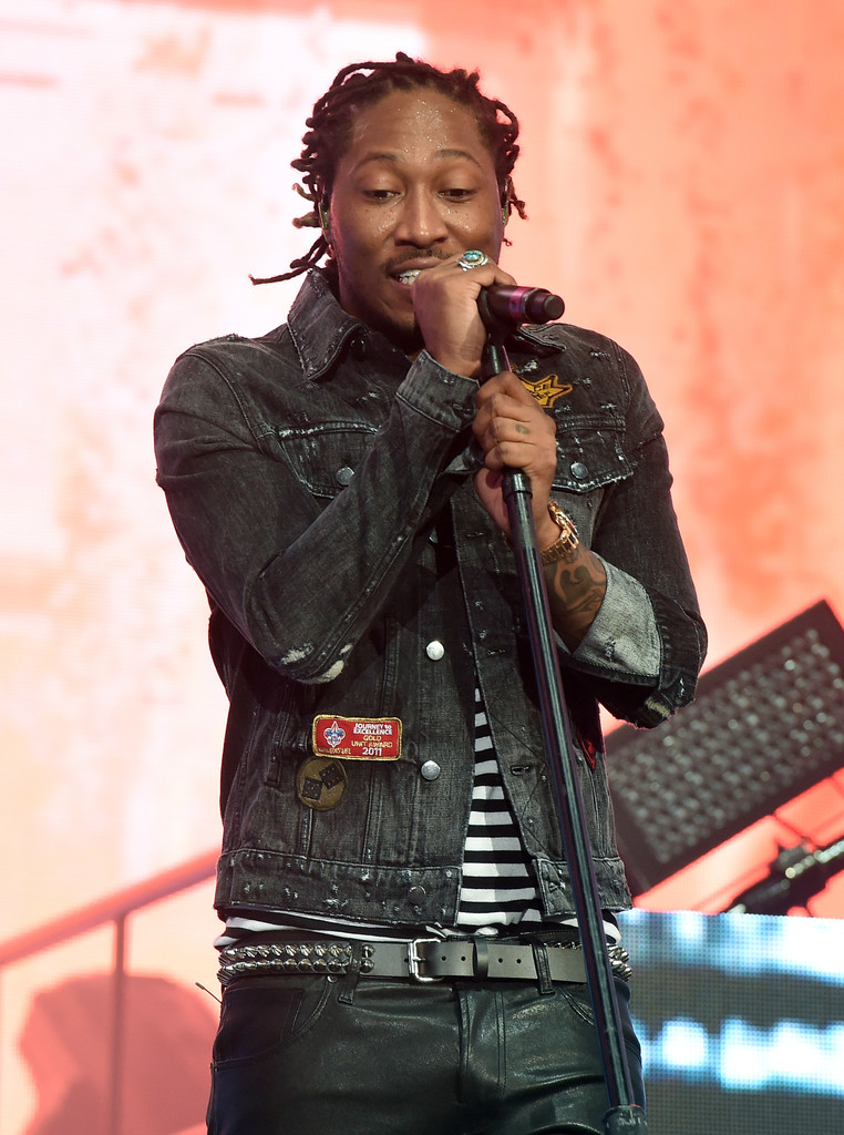 SPOTTED: Future in Amiri Jacket, T-Shirt and J Brand Leather Pants at Coachella