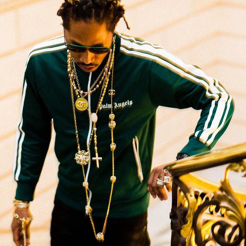 SPOTTED: Future in Palm Angels Green Track Jacket and Chanel Necklace