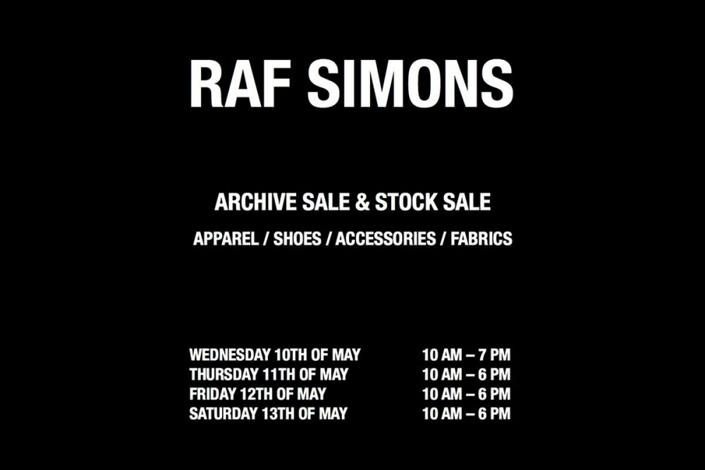 Raf Simons Archive Sale and Stock Sale in Antwerp