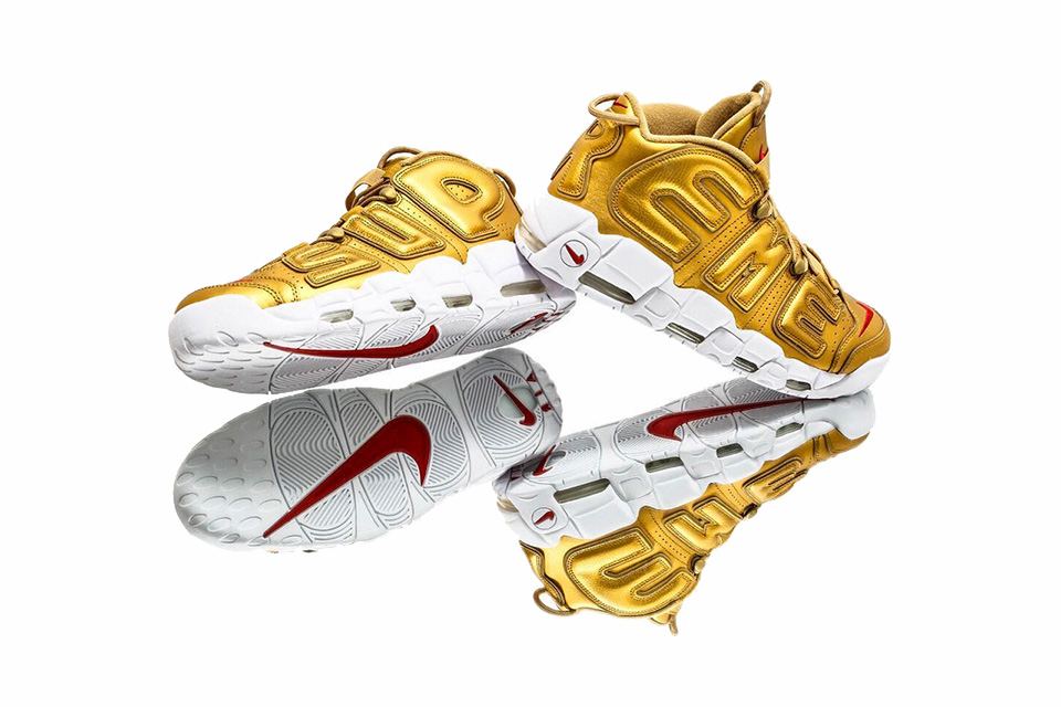 Best Look at Gold Supreme x Nike Air More Uptempo Sneaker Collaboration