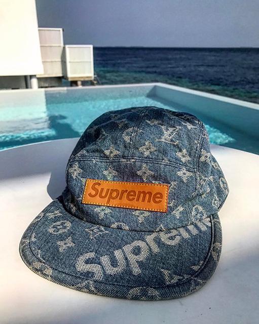 Closer Look at Supreme x Louis Vuitton Denim Cap