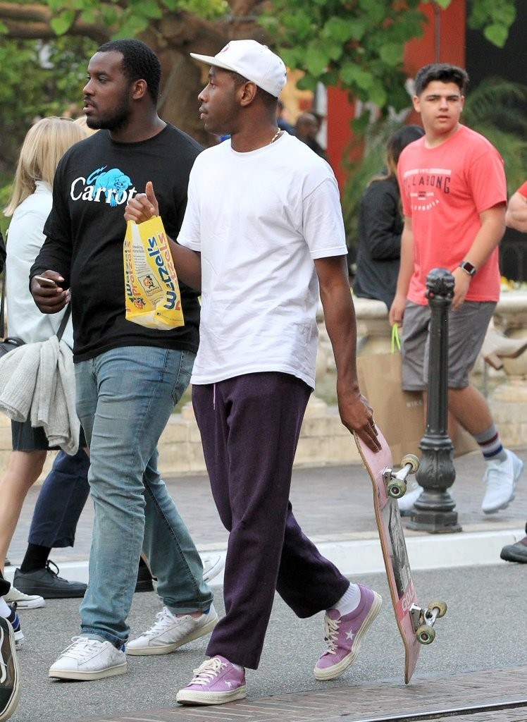 SPOTTED: Tyler, The Creator with Golf Wang Skateboard and wearing Converse Sneakers