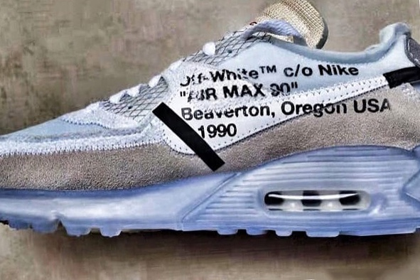 Images of an OFF-WHITE x Nike Air Max 90 Sneaker Surface
