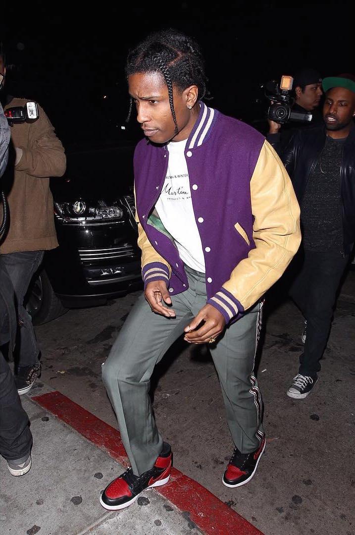SPOTTED: A$AP Rocky Wears Vintage Varsity Jacket & Martine Rose T-Shirt