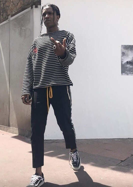 SPOTTED: A$AP Rocky In Gosha Rubchinskiy Sweater, Rhude Pants And Vans