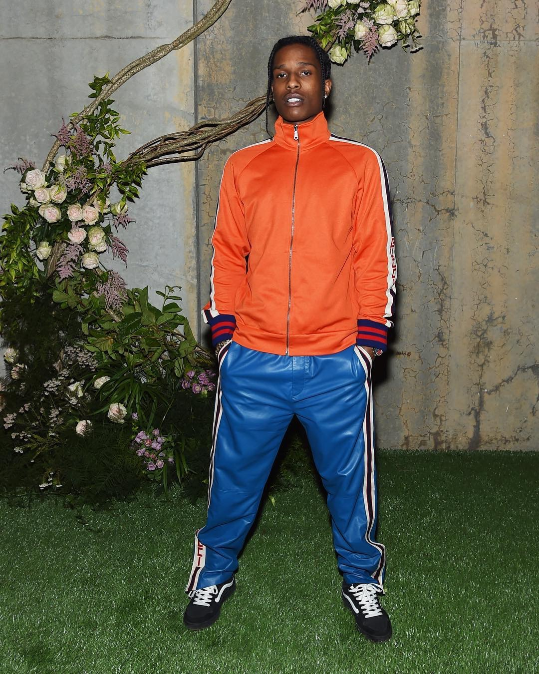SPOTTED: ASAP Rocky In Gucci Jacket, Track Pants and Old Skool Vans