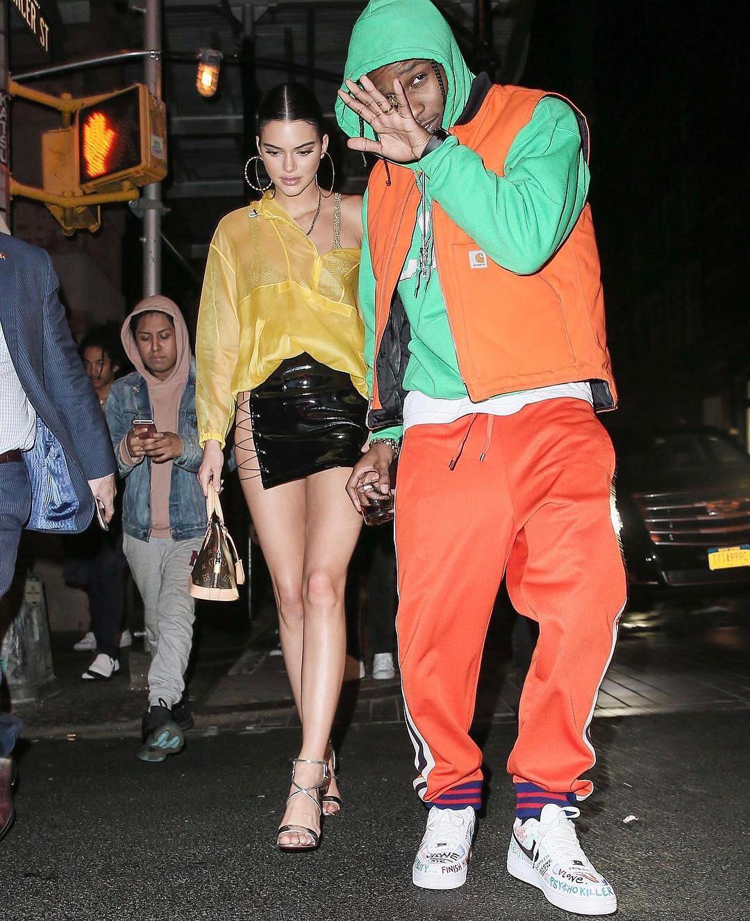 SPOTTED: A$AP Rocky In Unreleased Carharrt x VLONE Vest, Gucci Track Pants And Nike Sneakers