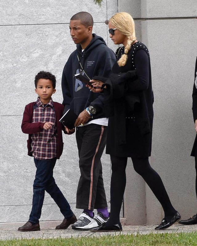 SPOTTED: Pharrell In Brooklyn Machine Works Hoodie and Adidas x Pharrell NMD Hu sneakers At Chris Cornell's Funeral