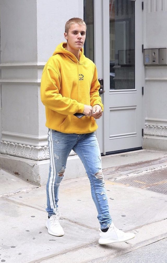 SPOTTED: Justin Bieber In Amiri Jeans and Adidas Yeezy Boost 350 Sneakers in NYC