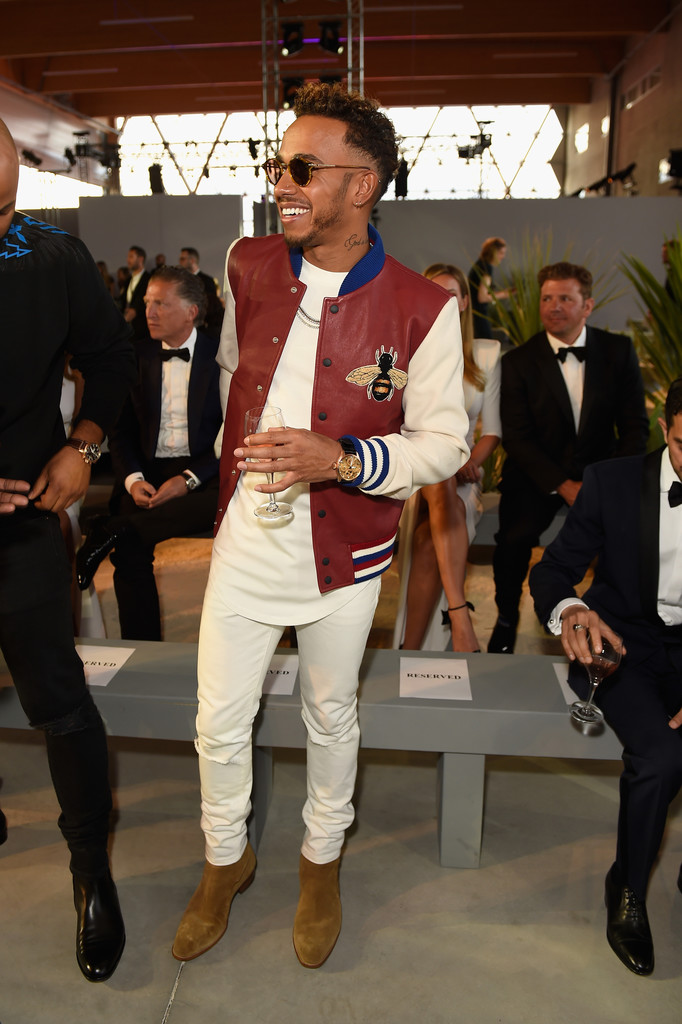 SPOTTED: Lewis Hamilton In Gucci Bomber Jacket And Saint Laurent Boots