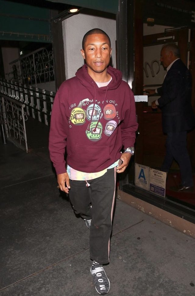 SPOTTED: Pharrell in Billionaire Boys Club The Voice Hoodie, Chanel Case and Adidas NMD Hu Sneakers