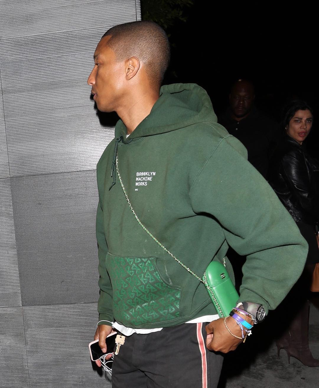 SPOTTED: Pharrell Williams In Brooklyn Machine Works Hoodie And Chanel Bag