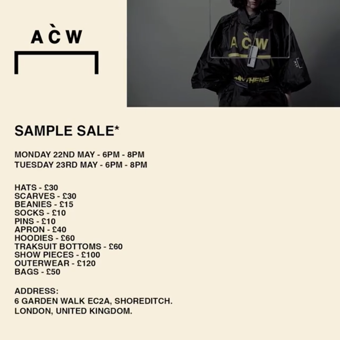 A-COLD-WALL* London Sample Sale