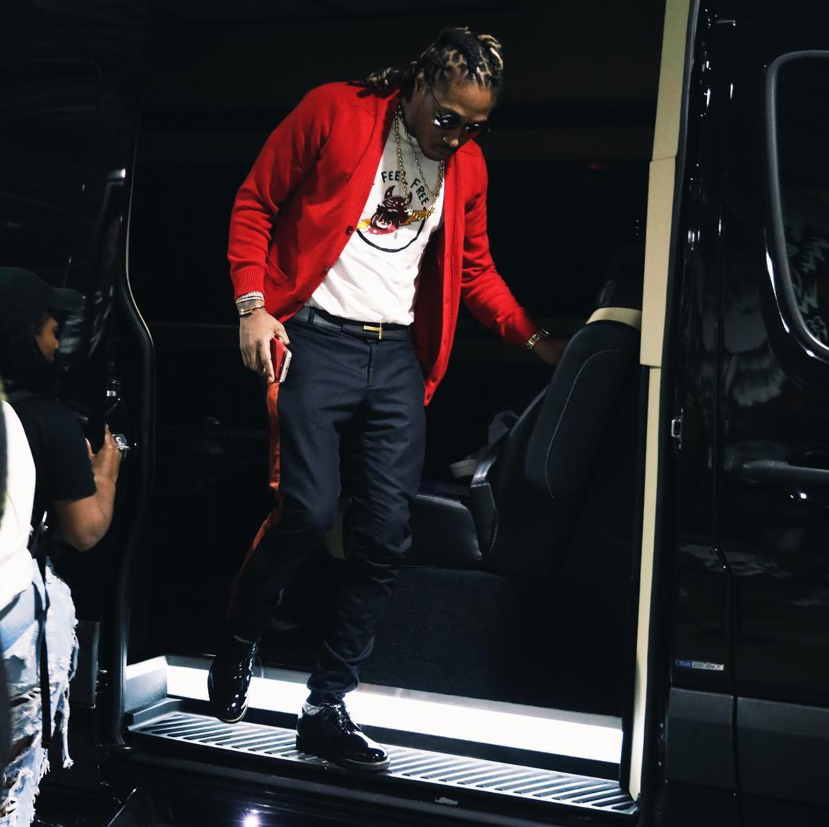 SPOTTED: Future In Red Cardigan And Side Stripe Trousers