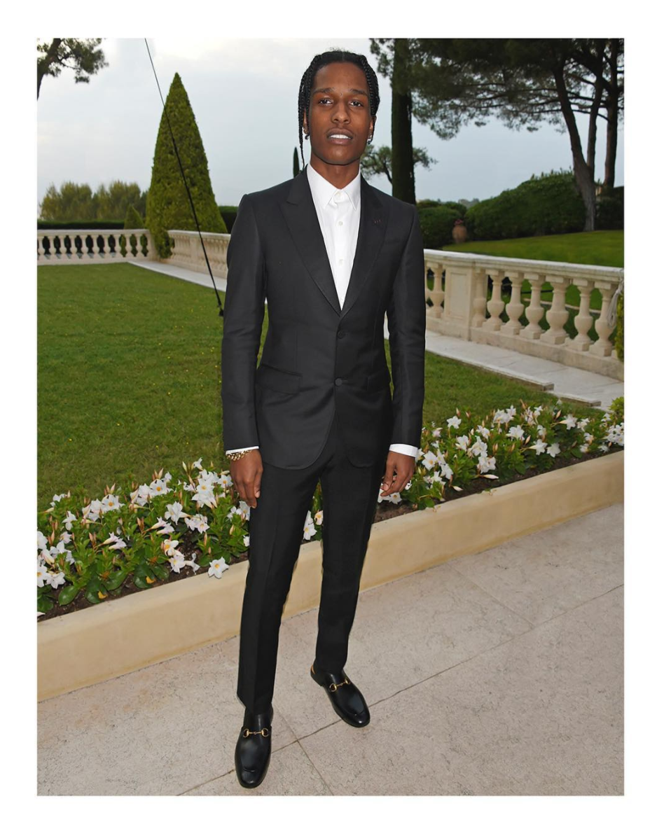 SPOTTED: A$AP Rocky In Custom Gucci Heritage Tuxedo And Horsebit Slippers