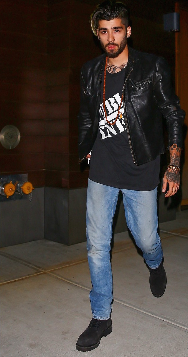 SPOTTED: Zayn Malik In Public Enemy T-Shirt And Leather Jacket