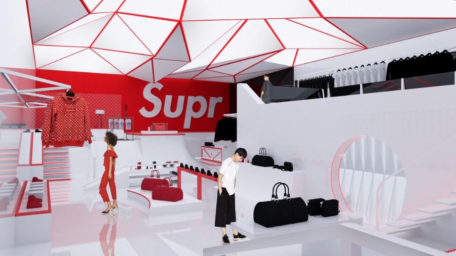 An Architect's interpretation of a permanent Supreme x Louis Vuitton store space
