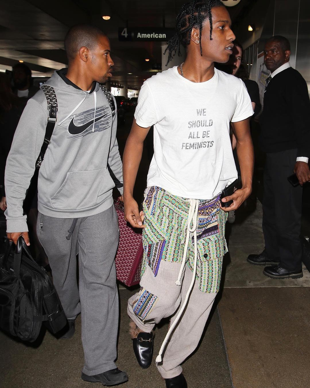 SPOTTED: A$AP Rocky in Dior, Loewe and Gucci Slippers at LAX