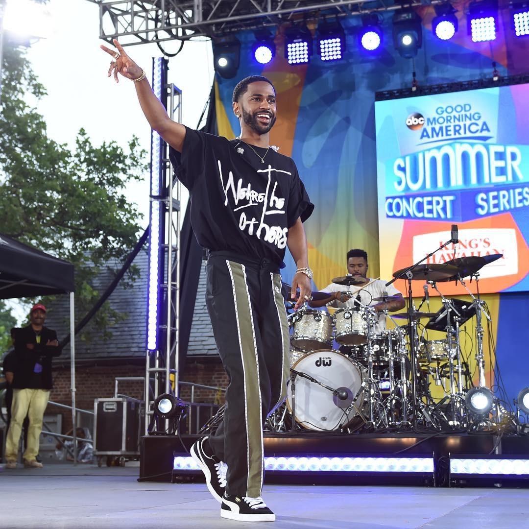 Big Sean performs on Good Morning America in Telfar pants and Puma sneakers
