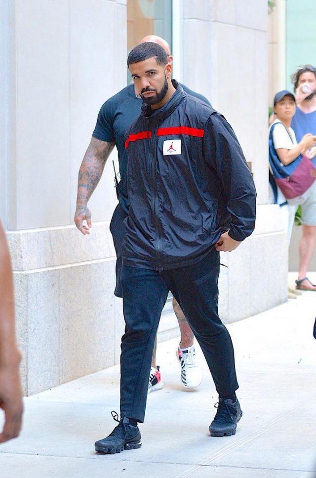 SPOTTED: Drake In Nike Vapormax Sneakers and Air Jordan Jacket