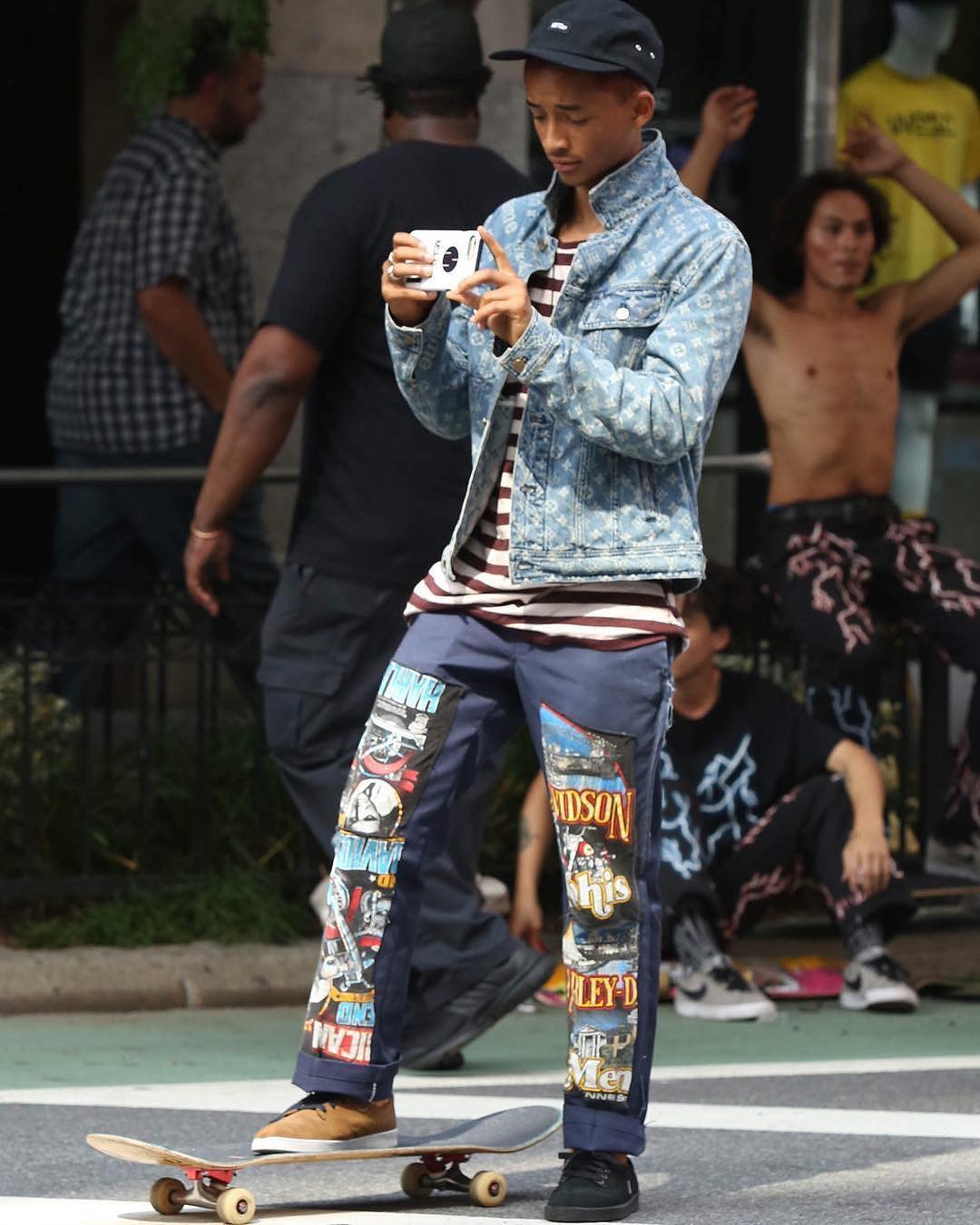 SPOTTED: Jaden Smith In Louis Vuitton x Supreme Jacket And Custom MSFTSrep Pants