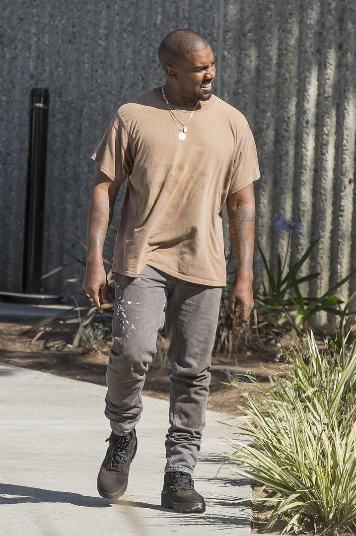 SPOTTED: Kayne West In Vintage Helmut Lang Jeans And Yeezy Season Boots