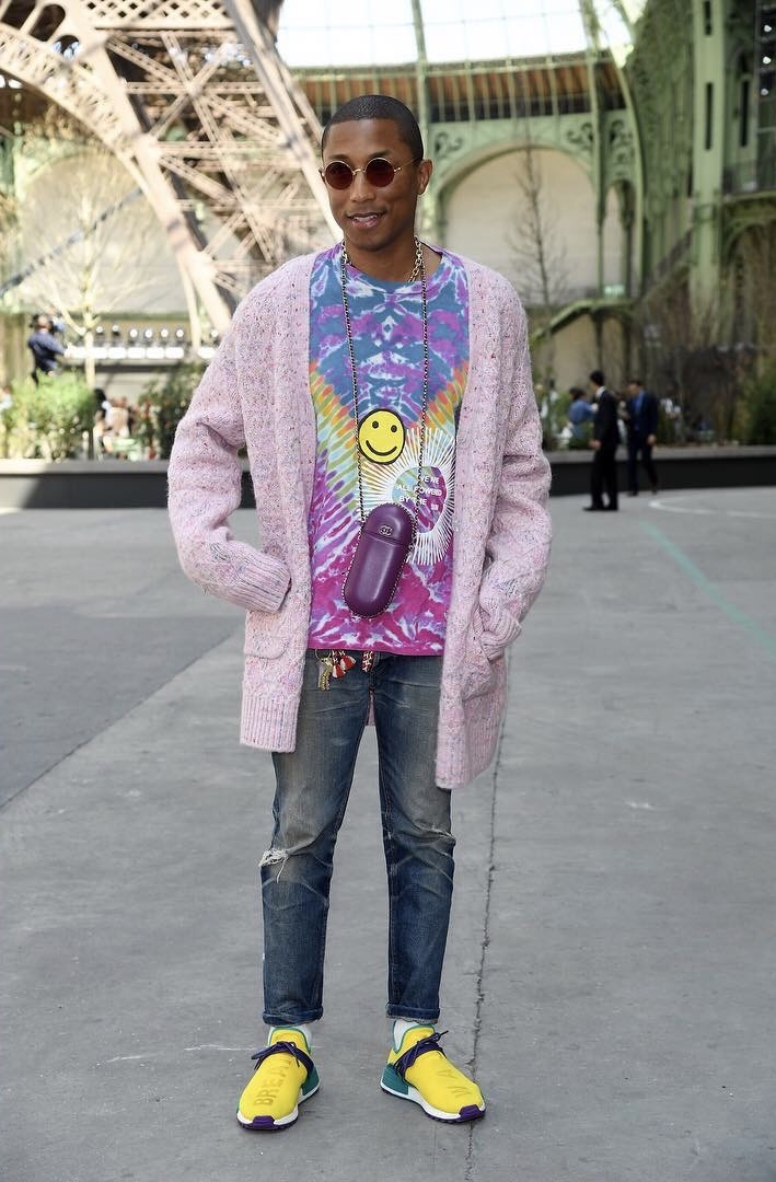 SPOTTED: Pharrell Wears Chanel Cardigan At Chanel Fall/Winter 17 Show