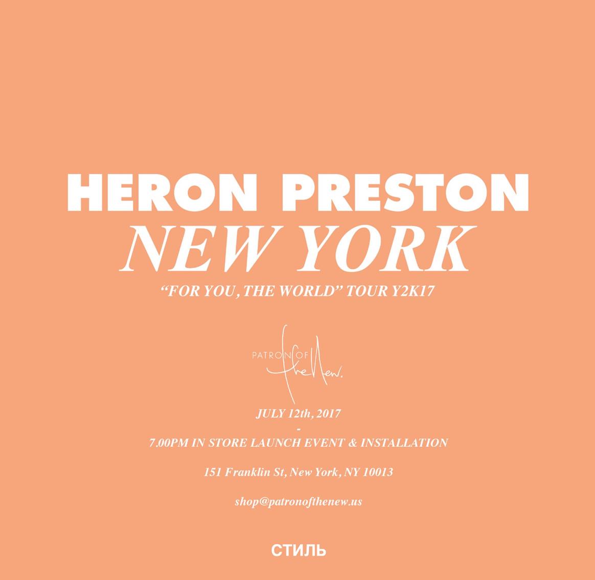 Heron Preston announces NYC pop-up shop
