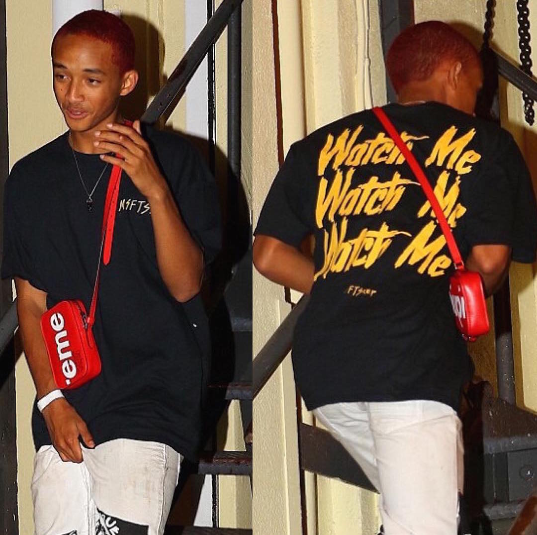 SPOTTED: Jaden Smith In MSFSTRep T-Shirt And Supreme x Louis Vuitton Bag