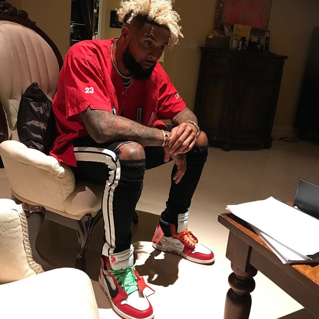 SPOTTED: Odell Beckham Jr. In Air Jordan Jersey And Off-White x Air Jordan Sneakers