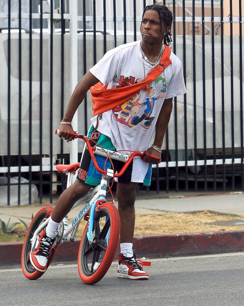 SPOTTED: A$AP Rocky In Vlone Shorts And OFF-WHITE X Nike Sneakers