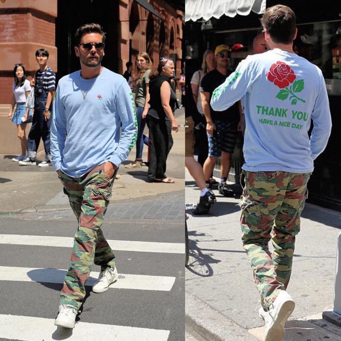 SPOTTED: Scott Disick In Chinatown Market T-Shirt, Ralph Lauren Cargos And Adidas YEEZY Calabasas Sneakers